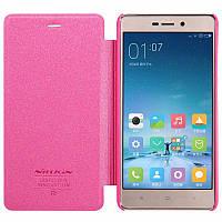 Чехол книжка Nillkin Xiaomi Redmi 3 Pro (3S) - Spark series розовая обложка