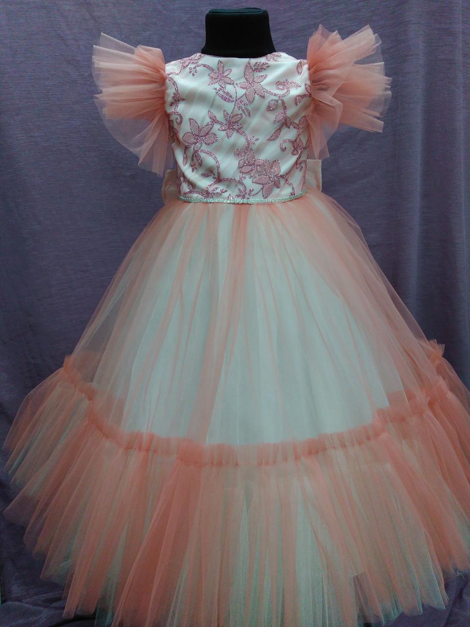 Платье детское нарядное c рюшами на 5-7 лет коралловое с молочным