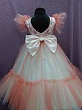 Платье детское нарядное c рюшами на 5-7 лет коралловое с молочным, фото 2