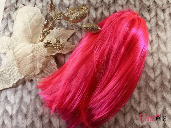 Карнавальный розовый парик-каре для яркого приображения на Новый Год, фото 2