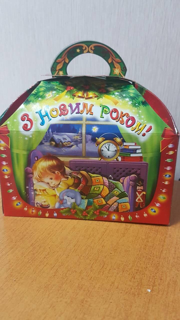 """Новогодняя подарочная картонная упаковка """"Сундучек"""" для конфет  на 800 грамм"""
