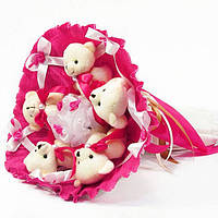 Букет из игрушек Мишки 5 малиновый 5292IT, фото 1