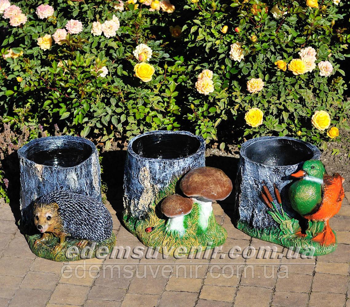 Садовая фигура Пенек с ежиком, Пенек с уткой и Пенек березовый