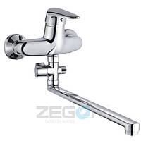 Смеситель для ванны Zegor ECT (ECT-A170) однорычажный с душем с длинным изливом цвет хром