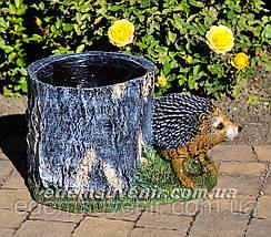 Садовая фигура Пенек с ежиком, Пенек с уткой и Пенек березовый, фото 2