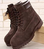 Мужские Зимние Ботинки Timberland BROWN, ботинки тимберленд коричневые, реплика