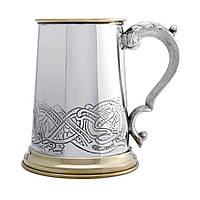 Кружка пивная из олова с латунным декором EP151. Танкард кружка.