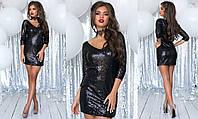 Платье крупная пайетка+подклада трикотаж 42,44,46, фото 1