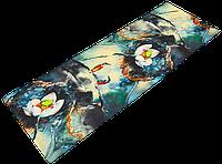 """Коврик для йоги джутовый Record двухслойный 3мм """"Зимородки и Лотос"""", фото 1"""