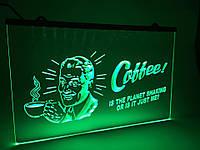 """Светодиодная Лед вывеска """"Кофе"""" (Табличка Coffe Led) Зеленая"""