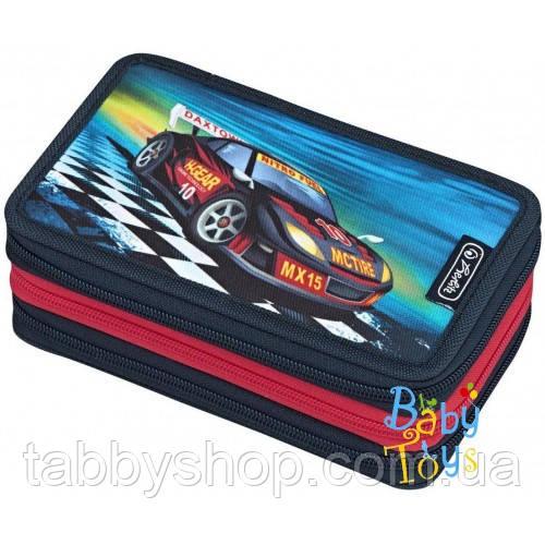 Пенал школьный Herlitz TRIPLE Super Racer с наполнением (31 предмет)