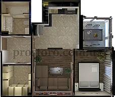 ЖК На Прорезной Планировка 1-комнатной квартиры 43.78 м2 тип 1А/1Г