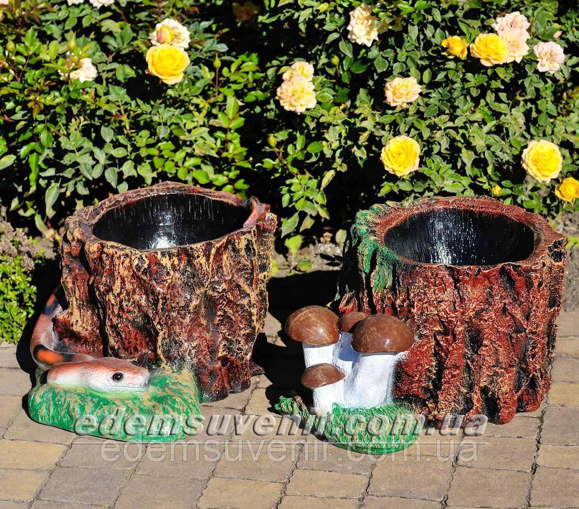 Садовая фигура подставка для цветов Пенек с опятами и Пенек со змеей