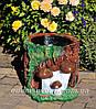 Садовая фигура подставка для цветов Пенек с опятами и Пенек со змеей, фото 3