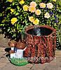 Садовая фигура подставка для цветов Пенек с опятами и Пенек со змеей, фото 4