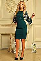 """Женское платье с перфорацией """"Роус"""" (изумрудное), фото 1"""