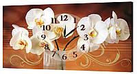 Настенные часы Декор Карпаты 24х44 Белые Орхидеи (24х44-ch100)