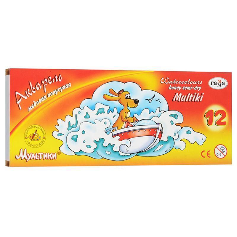 """Краски акварельные полухие  """"Мультики"""",12 цветов, картонная упаковка , 211048"""