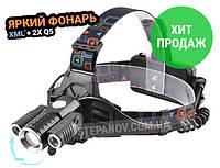 Светодиодный налобный фонарь фонарик на голову 3 диода X-Balog BL-W602 XML T6