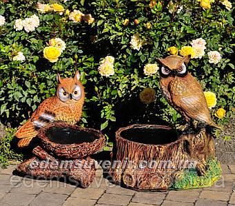 Садовая фигура подставка для цветов Пенек с совой и Сова у гнезда
