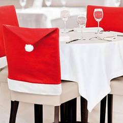Новогодний чехол на стул красного цвета - размер 48*60см, текстиль, 1 штука