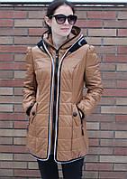 Пальто с кожзама с вязанным капюшоном