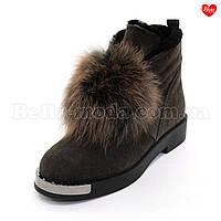Женские зимние ботинки с помпоном, фото 1
