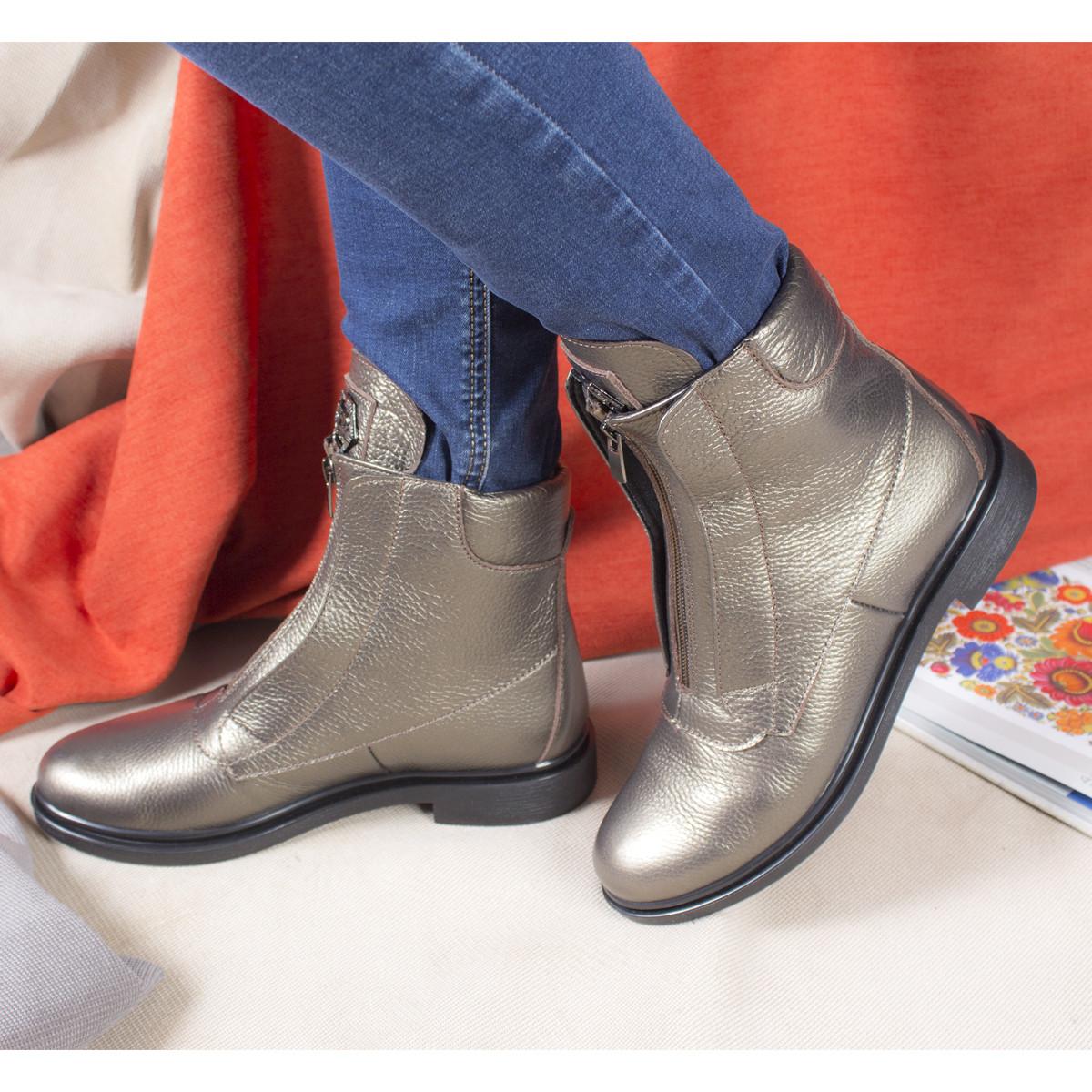 Кожаные ботинки женские демисезонные на флисе Рембо 36р. 01049