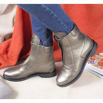 Шкіряні черевики жіночі демісезонні на флісі Рембо 36р. 01049