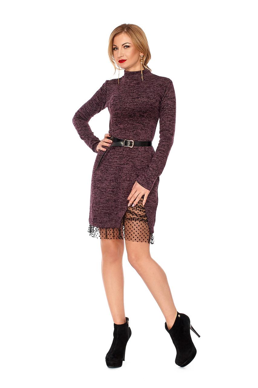 Теплое женское платье №1115 (фиолетовый)