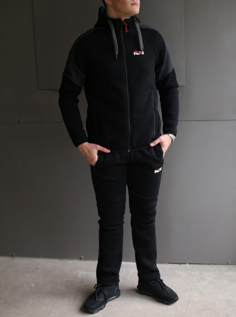 Спортивный зимний костюм с капюшоном мужской Puma на флисе