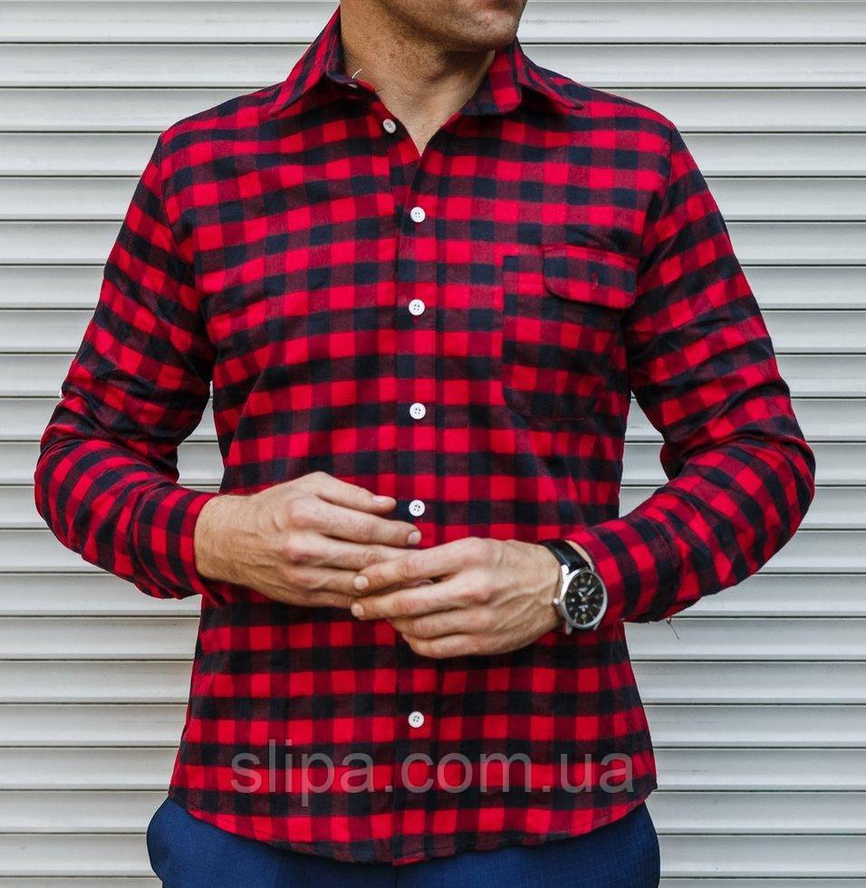 4ad2eda971506d9 Мужская рубашка в клетку темно-синяя с красным, длинный рукав ...