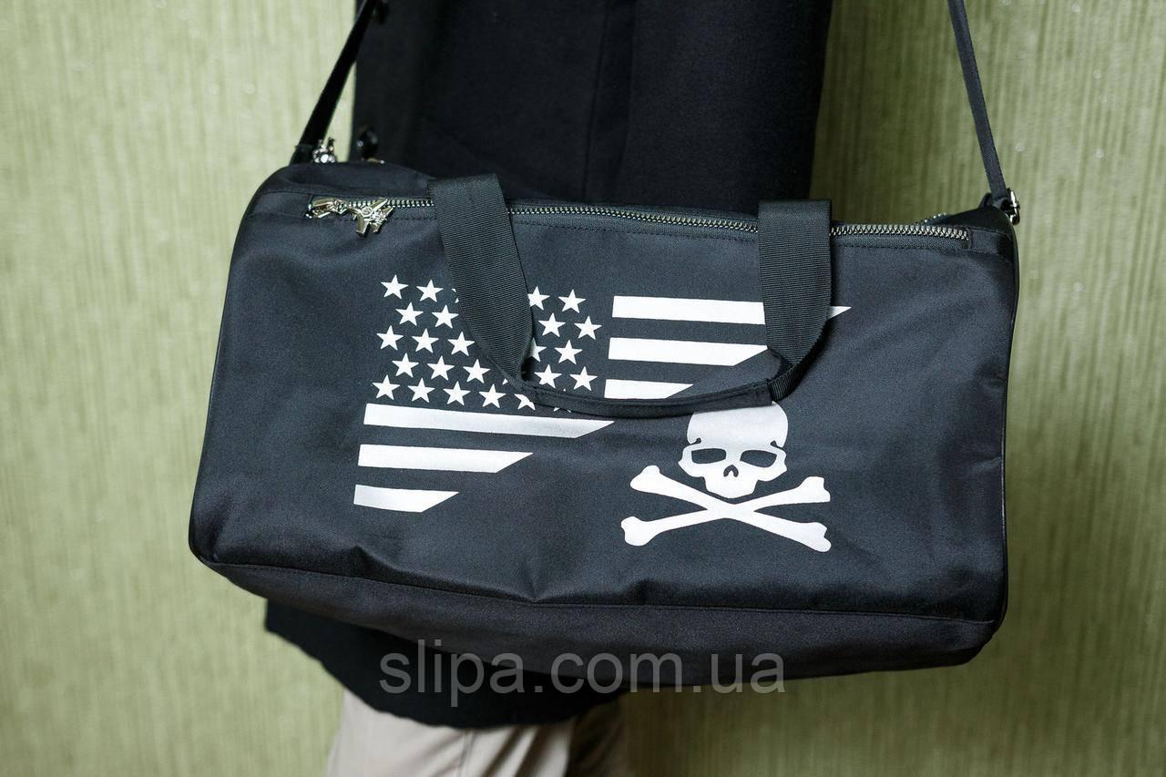 Чоловіча чорна сумка Philipp Plein Air Force, тканина вологозахисна з просоченням