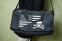 Чоловіча чорна сумка Philipp Plein Air Force, тканина вологозахисна з просоченням, фото 1