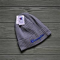 Шапка мужская Champion. Зимняя стильная шапка с очень тёплой флисовой подкладкой , ТОП качество!!!Реплика.