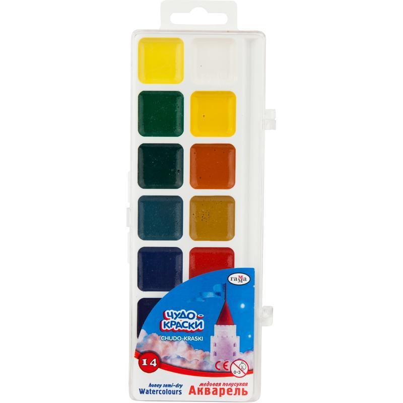 """Краски акварельные """"Чудо-Краски"""", полусухие, ГАММА ,14 цветов, объём кюветы 2,8 мл, 212074"""