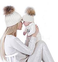 Теплые шапочки для мамы и ребенка