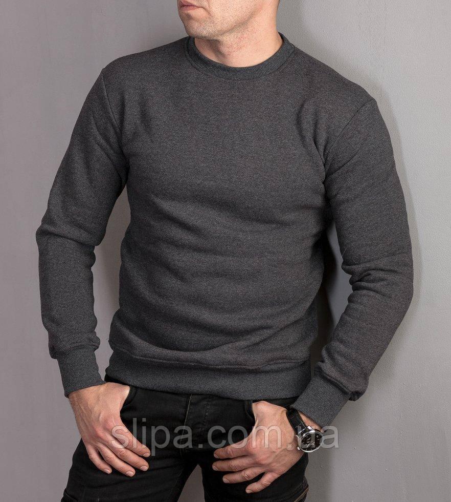 Мужской теплый пуловер с начесом, серого цвета