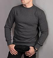 Мужской теплый пуловер с начесом, серого цвета, фото 1