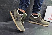Кроссовки мужские New Balance  574 зима низкие модные замша+пена+мех (зеленые), ТОП-реплика, фото 1