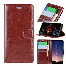 Чехол книжка для Samsung Galaxy A6S G6200 боковой с отсеком для визиток, Гладкая кожа, коричневый