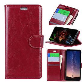 Чехол книжка для Samsung Galaxy A6S G6200 боковой с отсеком для визиток, Гладкая кожа, красный