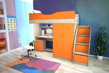 Меблевий комплект з прямим шафою (+ сходи комод), Дитячі меблі