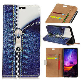 Чохол книжка для Samsung Galaxy A6s G6200 бічній з відсіком для візиток, Застібка на блискавці