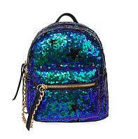 Рюкзак женский городской с пайетками Зелено синий, фото 1