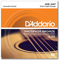 Струни для акустичної гітари D`ADDARIO EJ15 PHOSPHOR BRONZE EXTRA LIGHT 10-47
