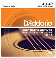 Струни для акустичної гітари d'addario EJ15 PHOSPHOR BRONZE EXTRA LIGHT 10-47