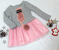 Нарядное платье на девочку Кошечка, размер 98-116, розовый