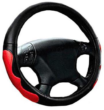 Чехол на руль черный с красными перфорированными вставками размер М Elegant Plus EL 105495