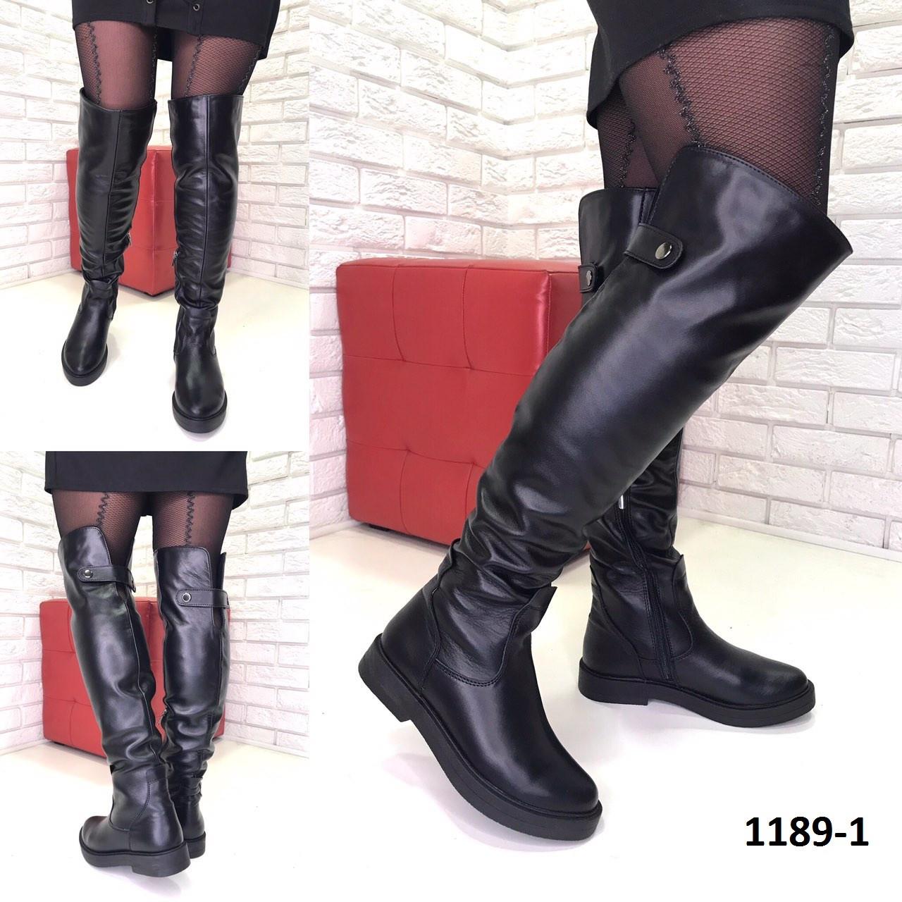 7b8448319 Женские кожаные Ботфорты на низком ходу еврозима черные от компании ...